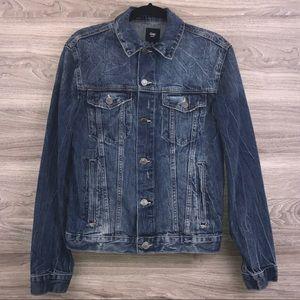 Gap blue denim distressed jean trucker jacket S